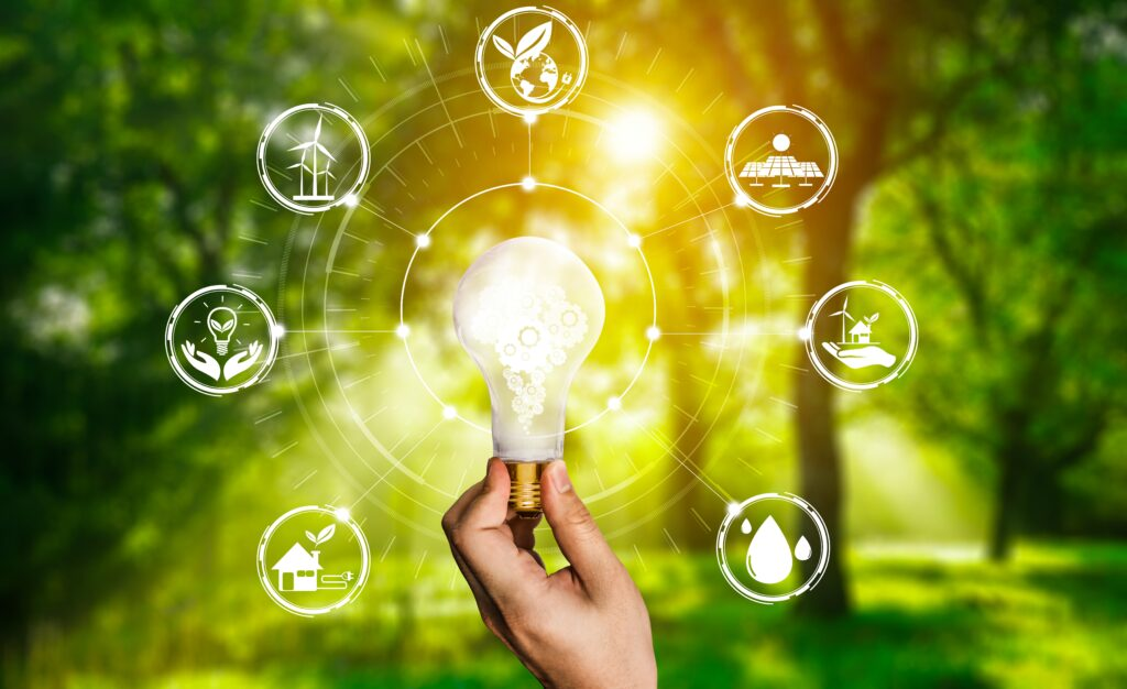 Energy innovation light bulb graphic